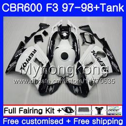 Weiße repsol verkleidungen online-Bodys + Tank Für HONDA CBR600FS CBR 600F3 CBR 600 F3 FS 97 98 290HM.46 CBR600RR Repsol Weiß CBR600F3 1997 1998 CBR600 F3 97 98 Verkleidung