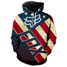 bandiere fredde Sconti Cool felpa con cappuccio con stampa fox print della bandiera americana