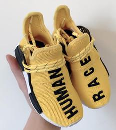 zapatos amarillos para niños Rebajas Adidas human race 2019 niños Human Race Runing Shoes niños niñas Paquete Solar Negro Amarillo PU HU HOLI Pharrell Williams Niños Zapatillas de deporte bebé regalo de cumpleaños
