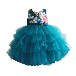 Mädchen kleidet größe 7t online-Baby Mädchen Kleid Blumendruck Hochzeit Baby Kleidung grün geschichteten Sommerkleider Geburtstag Kleidung Größe 2-7 t J190710