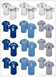 1aec58705 custom Men Women Youth Majestic KC Royals Jersey  6 Lorenzo Cain 8  Moustakas 5 George Brett Home Nary Blue Baseball Jerseys discount mike  moustakas jersey