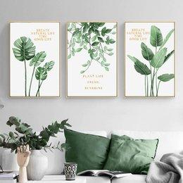 2019 peintures militaires Vente chaude Green Plant Home Décoration Mur Art Toile Peinture Feuille Monstera Nordic Posters et Imprime Mur Photos pour Salon Décor
