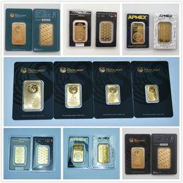 Heimplatten online-1 Oz Perth Mint Argor Heraeus RCM Gold Bar überzog 24k Gold Bullion Geburtstag Urlaub Geschenke Hauptdekorationen Crafts Replica