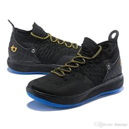 Zapatos kevin durant negro verde online-Lo nuevo Kd 11 Hombres Zapatos de baloncesto Kevin Durant 11s Botas de baloncesto Oro blanco Negro Verde Zapatillas de deporte de calidad superior tamaño Us7-12
