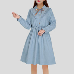 Las mujeres japonesas de vestir informal online-Estilo japonés Mori Girls Small Fresh Bushes Revers Long Arm Dress 2018 Spring New Women Kawaii Lolita Dress Y19071001