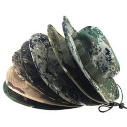 Argentina Moda camuflaje militar sombreros del cubo Selva Camo Sombrero del pescador con borde ancho Sun Bucket Bucket Hat Sombreros que acampan gorras de algodón Suministro