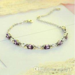 S925 bracelet en argent sterling incrusté de diamants pour femmes, bracelet violet, de mode européenne, bracelet géométrique en zircon améthyste ? partir de fabricateur