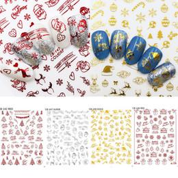 Unghie rosse di natale online-Nail Natale Art Stickers Oro Argento di colore rosso del fiocco di neve pupazzo di neve Albero di Natale Babbo Hollow Nail Stickers manicure Decor HHA882
