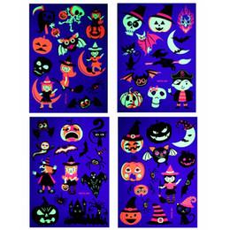 Fiesta de Halloween etiqueta engomada del tatuaje fluorescente tatuaje temporal respetuoso del medio ambiente Niños calabaza dibujos animados de animales Decoración HHA811 desde fabricantes