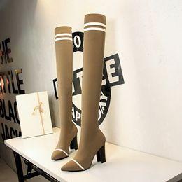 Bottes sexy pour les femmes en Ligne-sur le genou bottes bottes sexy cuissardes talons sexy talons hauts hautes hautes sexy femme zapatos de mujer chaussures femme zapatillas mujer