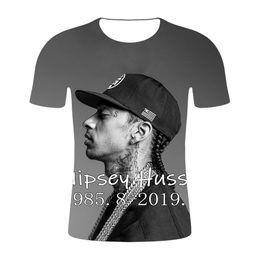 2019 magliette calde da uomo R.I.P Mens nipsey hussle Magliette 3D Rapper americano O-Collo Designer estivo Hot Tees Maniche corte Top magliette calde da uomo economici