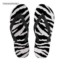 62505d22b Twoheartsgirl Striped Zebra Print Flip Flips Classic Flat Summer Beach  Slippers for Men Personalized Male Massage Flipflops