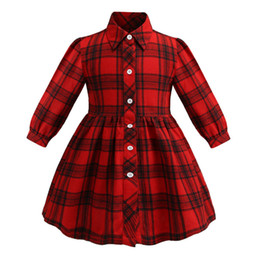 Le ragazze vestono le camicie per i bambini online-2019 nuovi bambini plaid dress ragazze risvolto camicia a maniche lunghe vestito per bambini vestiti rosso monopetto casual vestito a traliccio A01435