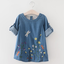 Printemps Filles Robe De Style Européen Broderie Bébé Fille Robe O-cou De Mode Mini Robes Élégant Avec Floral Vêtements Pour Enfants ? partir de fabricateur