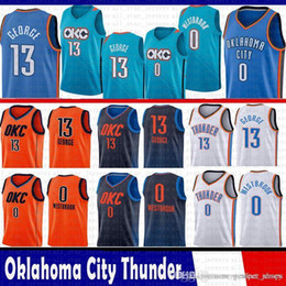 295dc751e86 cheap sale new 2019 Oklahoma 13 Paul 13 George City Jersey Thunder 0  Russell 0 Westbrook Basketball Jerseys OKC BLUE WHITE ORANGE paul george  jersey on sale