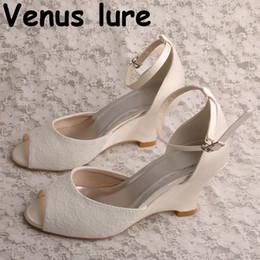 Dentelle à l'ivoire peep toes en Ligne-Wedopus Sandales à talons compensés Sandales à talons hauts Ivory Lace 2019 Peep Toe