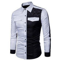5298c89a578 New British style Slim fit Fashion stitching pattern Large size Lapel M-3XL  size Long sleeve men s shirt C0053