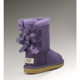 Botas de neve roxas para mulheres on-line-Comprar sapatos de inverno da Austrália ug botas de neve mulheres designer de moda botão clássico Bow 3280 senhoras ankle boots roxo barato à venda