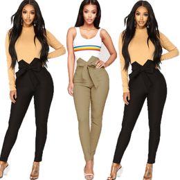 le ragazze del pantyhose del hip hop Sconti Pantaloni lunghi a righe da donna alla moda Pantaloni a vita alta da legare pantaloni Leggings sottili skinny Pantaloni casual a vita alta