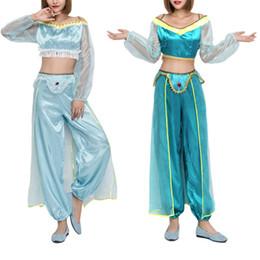 Dança indiana trajes on-line-Traje de Halloween Traje Da Princesa Árabe Dancer Indian Traje Duas Cores Sexy Dança Do Ventre das Mulheres Adultas Terno Roupas