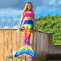 2019 trajes de super-heróis de mulheres adultas Mulheres Caudas da sereia para nadar Adultos Meninas swimmable Cosplay Praia de banho Swimsuit Verão de natação para as caudas Roupa