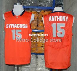 Сиракузы джерси онлайн-# 15 Carmelo Anthony Syracuse Orange College Top Jersey Ретро Баскетбольный Джерси Новый Материал Высочайшее качество вышивка Джерси жилет Трикотажные изделия