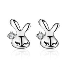 großhandel tier ohrringe Rabatt Kaninchen Ohrstecker Für Frauen Geburtstagsgeschenk Farbe Silber Ohr Schmuck Großhandel Schöne Tier Häschen Ohrring