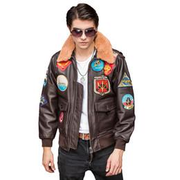 hombre chaquetas de cuero europa Rebajas 2019 Marrón Hombres Chaqueta de Cuero Piloto Europa Tamaño XXL Genuino de piel de Vaca Gruesa TOP GUN Abrigo de Cuero Aviador ENVÍO GRATIS