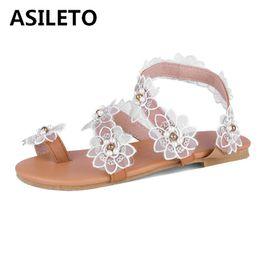ASILETO New Summer shoes donna Tacco piatto Slip on flat sandalo Flower Clip toe Pearl Lace floreale White sandalia large size 34-43 da
