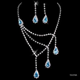 Platte blau online-Günstige Braut Charming Alloy Plated Blue Strass Kristalle Schmuck Halskette Set Hochzeit Braut Brautjungfer Prom Party Freies Verschiffen 150-15A