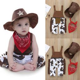 Niños pantalones tirantes online-Newborn Cowboy Romper Cotton Suspender Pantalones + Sombrero + Bufanda Conjunto de ropa de cowboy Bebé Infant Boy Diseñador Ropa
