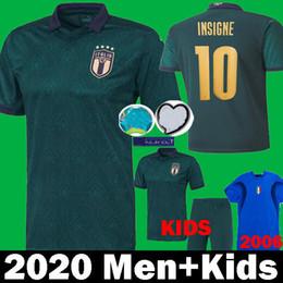 Maillots de foot italie en Ligne-MAN + KIDS 2019 2020 ITALIE Maillot de football Coupe d'Europe 19 20 vert foncé CHIELLINI EL Shaarawy BONUCCI INSIGNE BERNARDESCHI FOOTBALL
