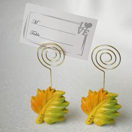 carta foglia d'acero Sconti Autumn Wedding Favors Maple Leaf Place Titolare della carta Photo Holders Seat Clip Party Wedding Table Decoration 30pcs all'ingrosso