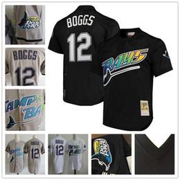 tampa baseball Desconto Vintage Tampa Bay # 12 Wade Boggs Jersey Voltar para trás o relógio raios casa longe branco preto Baseball Jerseys