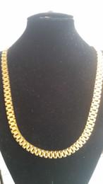 2019 aaa edelstein perlen Luxuriöse New Super edle Männer 316L chirurgischer Edelstahl-18K Gelbgold PVD Beschichtung Uhrenarmband-Verbindungs-Halskette