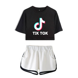 2019 bts verão camiseta BTS Tik tok software 2019 New Verão Kpops Mulheres Two Piece Set Shorts e encantador T-shirts Roupa Hot Sale Harajuku Imprimir bts verão camiseta barato