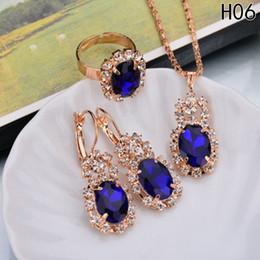 blauen stein halskette gesetzt Rabatt Mode Blau Kristall Stein Hochzeit Schmuck Sets Für Bräute Silber Farbe Halskette Set Für Frauen