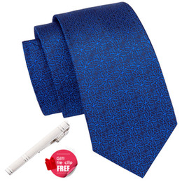 2019 привет Hi-Tie  Silk Fashion Men's Necktie Blue Business Wedding Tie Set Pocket Square Cuffllinks Set Mens Ties 8.5cm SN-3034 дешево привет