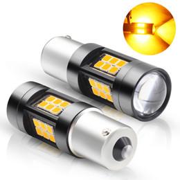 Ampoule antibrouillard arrière en Ligne-12V 1156 LED BAU15S PY21W S25 3030 SMD 27 LED Ampoules Jaune LED Lampe De Voiture Auto Reverse Light Turn Signal Arrière Fog Light Tail Light