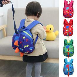2019 lindas mochilas de diseño para la escuela Niños anti-perdidos mochilas 5 colores dinosaurio de dibujos animados lindo Animal Print niños Mochilas niños diseñador bolsas Mochilas escolares JY182 lindas mochilas de diseño para la escuela baratos