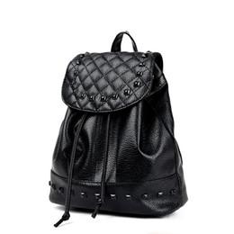 2019 saco de escola coreano de couro Mulheres Estilo Coreano PU De Couro Casual Mochila Rebite Saco De Viagem Saco De Escola Preto saco de escola coreano de couro barato