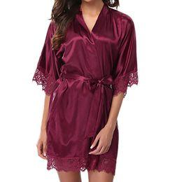 89d0725d67 Women s Lady Sexy Lace Sleepwear Satin Nightwear Lingerie Pajamas Suit  Solid Color sleep lingerie pajamas women Dropshipping