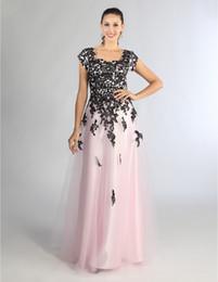 vestidos de baile de adolescentes negros Desconto New Black Pink Long Modest Prom Dress With Cap Sleeves Lace Top Tulle Skirt Teens Formal Modest Prom Party Dresses Simple Elegant