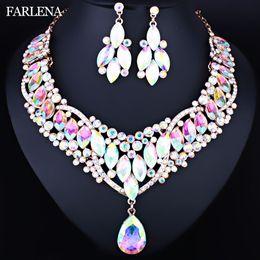 Conjunto de aretes de lujo de estilo marroquí, con diamantes de imitación de cristal transparente, conjunto de joyas de boda para mujeres desde fabricantes