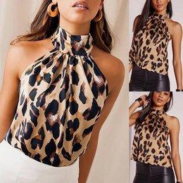 Chaleco leopardo online-Venta al por mayor 2019 para mujer leopardo impreso Crop Top Halter cuello Camis Backless chaleco del vendaje del partido de tarde atractivo Streetwear blusa 40 *