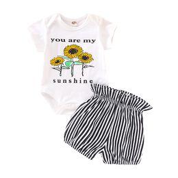 2t mameluco online-Baby Flower Romper Suit Kids Designer Clothing Girls Cartoon Sunflower Romper Tops Pantalones cortos de rayas Trajes para bebés Ropa para niña pequeña