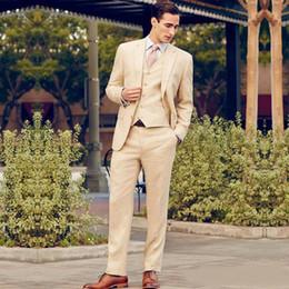 pieza de esmoquin parte trasera Rebajas Hermoso novio desgaste para la boda 3 piezas de dos botones para hombre de la boda Tuxedos Back Vent formal Blazer pantalones trajes