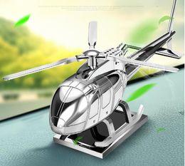 2019 ambientador de habitación Perfume del coche, juguete del aeroplano de la aleación de aluminio del oscilación solar creativo, decoración de interior personalizada del coche de lujo interior del coche decoración