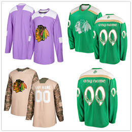 705bdea9 Men's Chicago Blackhawks 2018 Hockey Fights Cancer Custom Practice Jersey  Camo Veterans 2019 St. Patrick's Day Replica Stitched Logos discount chicago  camo ...