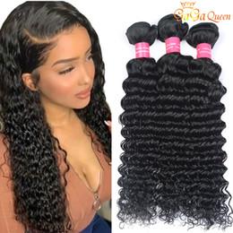 estensioni ricci capelli dei capelli 4pcs Sconti 4 pezzi brasiliani dei capelli dell'onda profonda impacchi le estensioni dei capelli umani vergini brasiliane del brasiliano di 100% capelli ricci dell'onda profonda